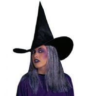 Black Witch Hat With Grey Hair (5155)